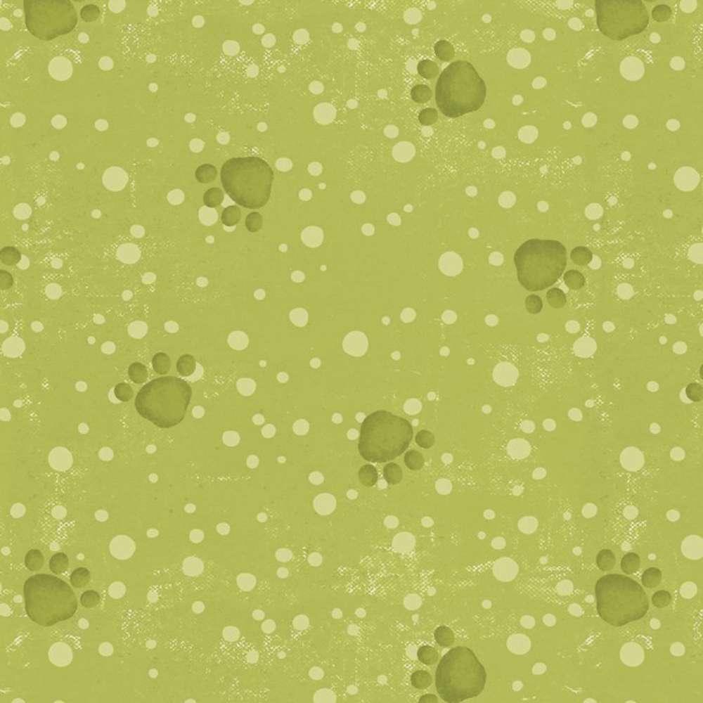 Tecido Cães De Petshop Pegadas Verde Rolo C/5 Metros