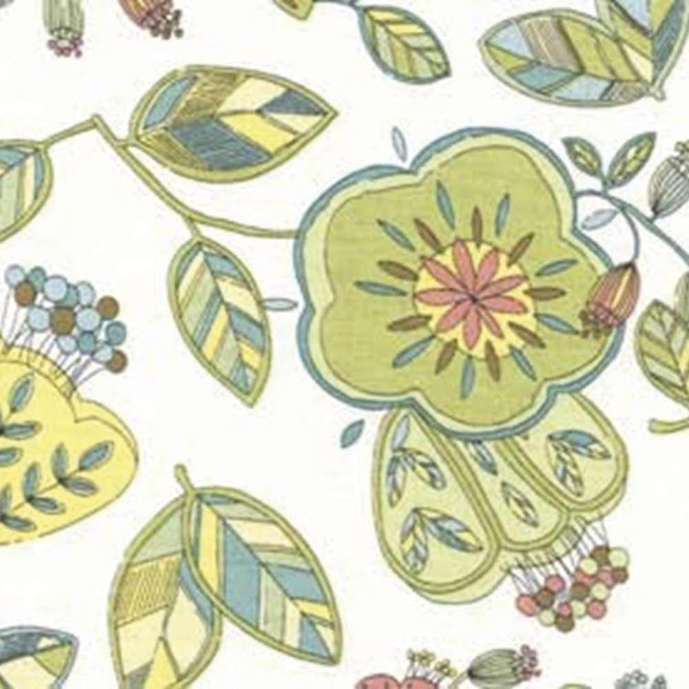 Tecido Floral Tropical Flores E Folhas Rolo C/5 Metros