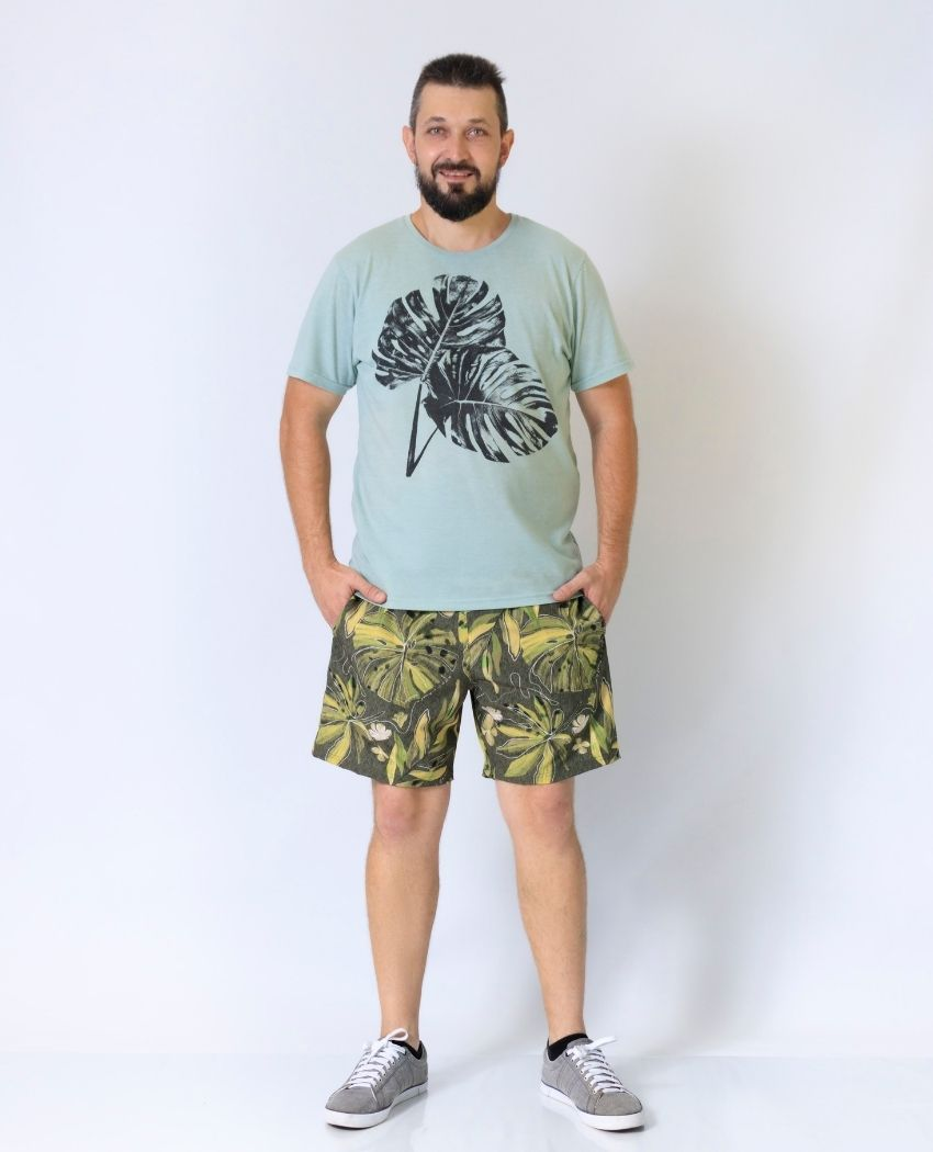 Short Folhagens Desenhada Verde Masculino