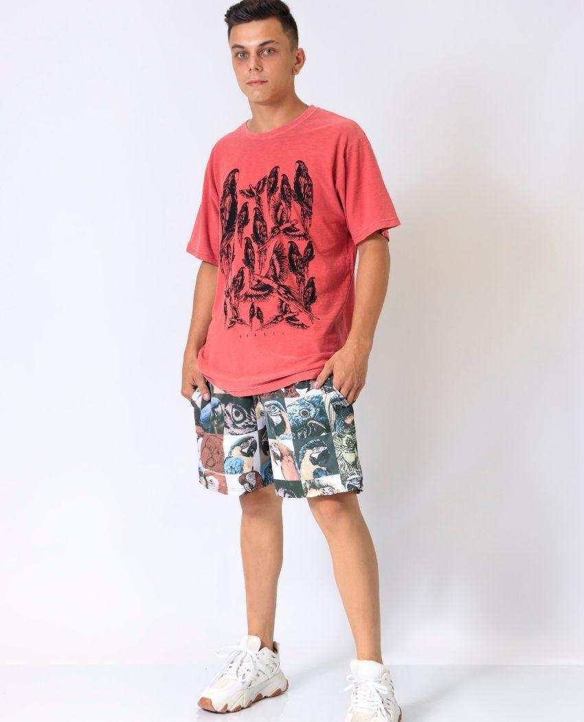 Short Quadro Araras Masculino