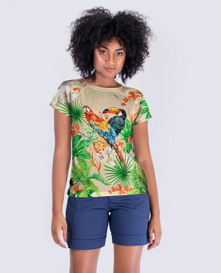 Blusa Arara e Tucano Tropical Brilho