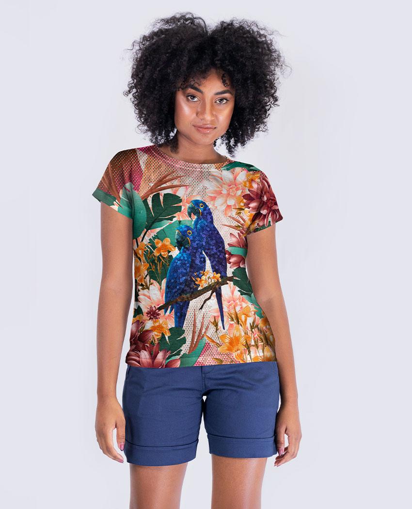 Blusa Ararinha Azul e Folhas Brilho