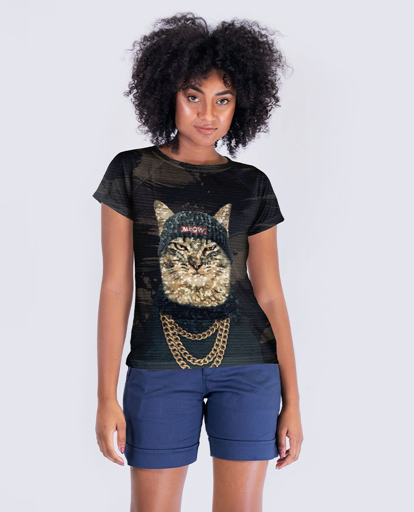 Blusa Gato de Atitude Brilho