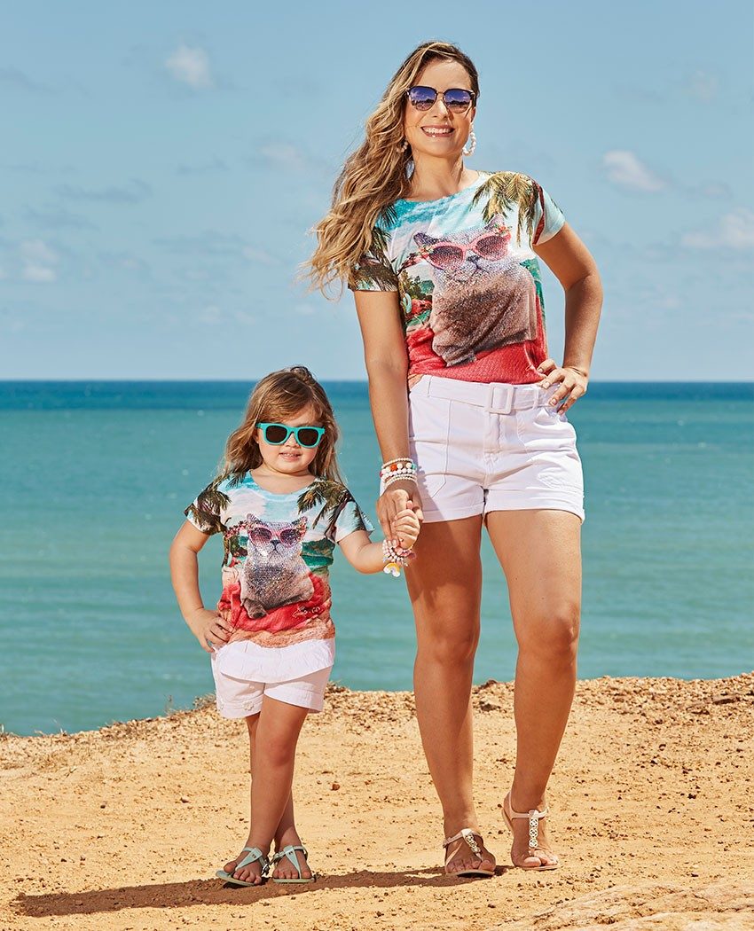 Blusa Infantil Gato na Praia