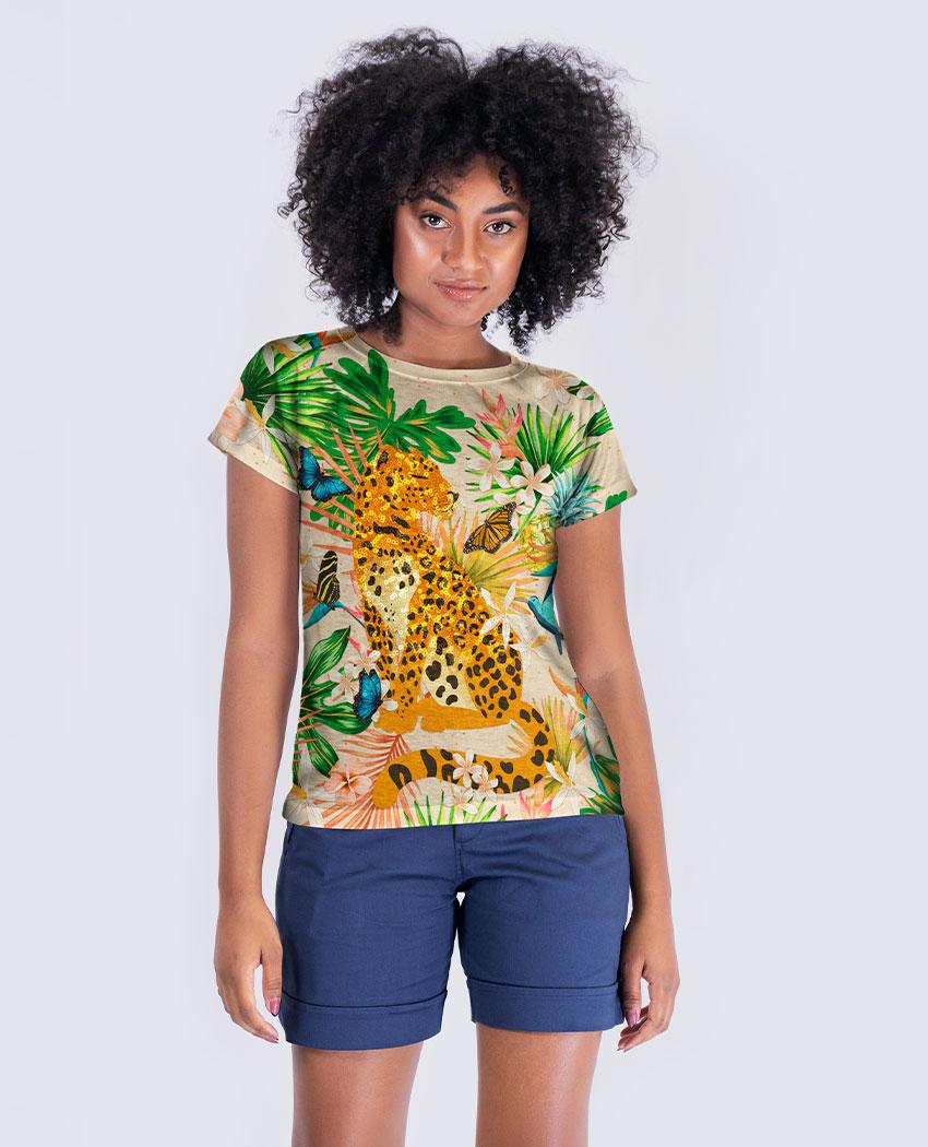 Blusa Onça Tropical Brilho