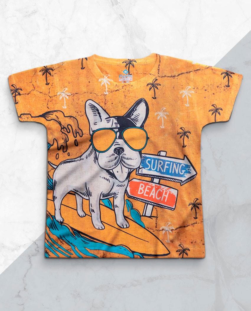 T-shirt Infantil Surfing Dog