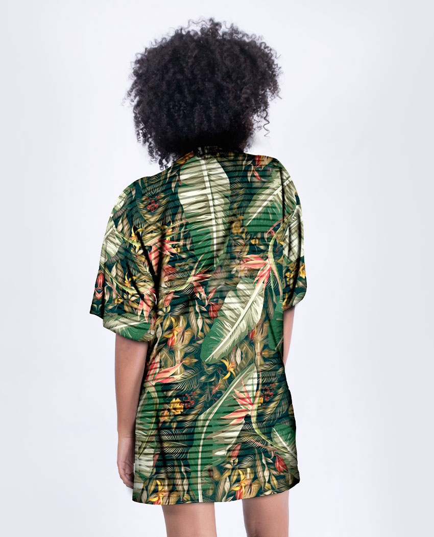 Kimono Curto Folhagens