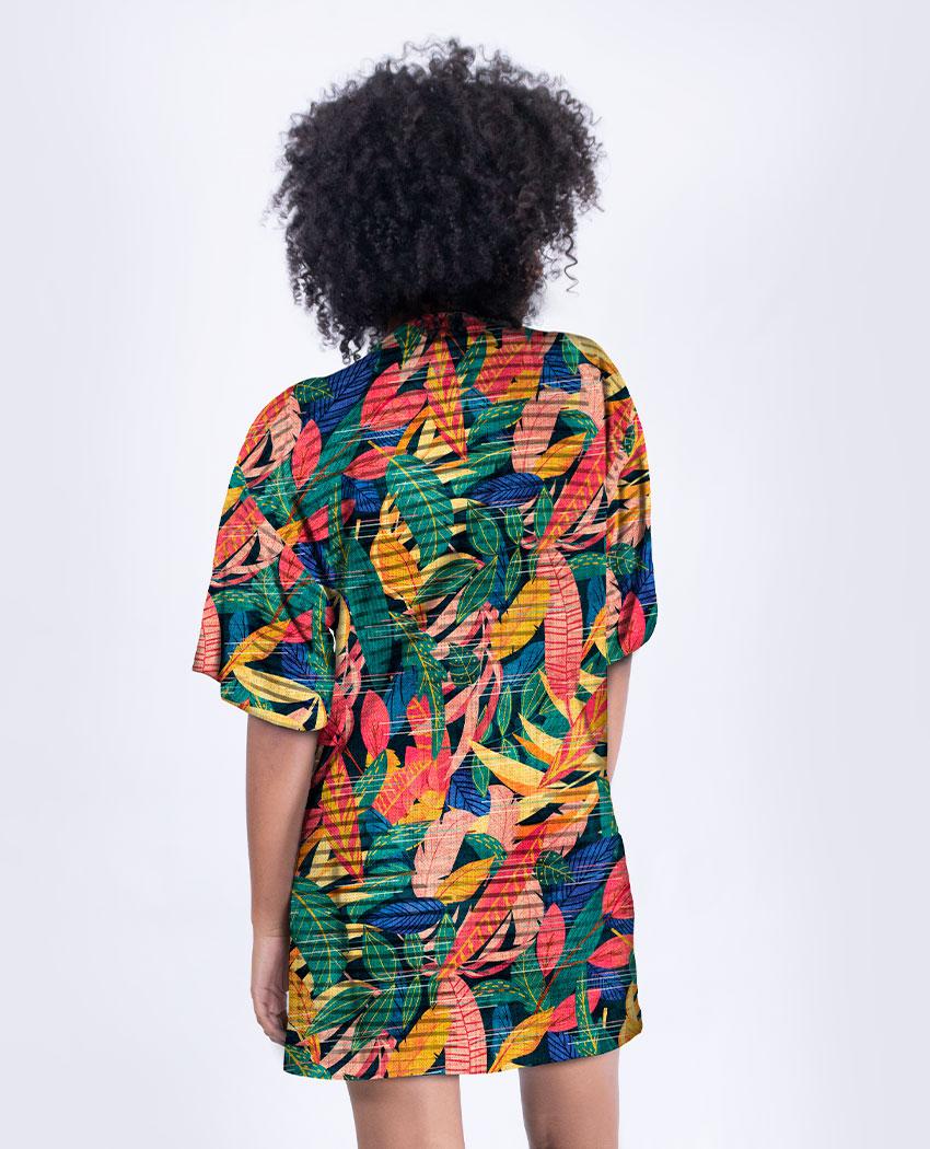 Kimono Curto Folhagens Coloridas