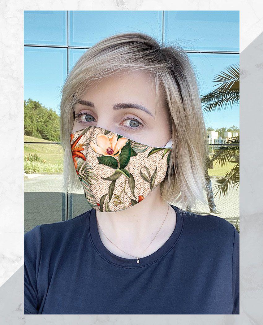 Máscara Anatômica Floral Texturizado