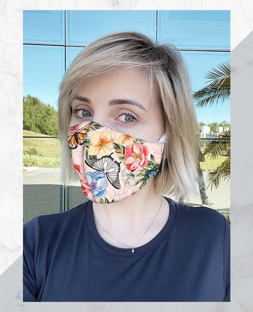 Máscara Anatômica Jardim Borboletas