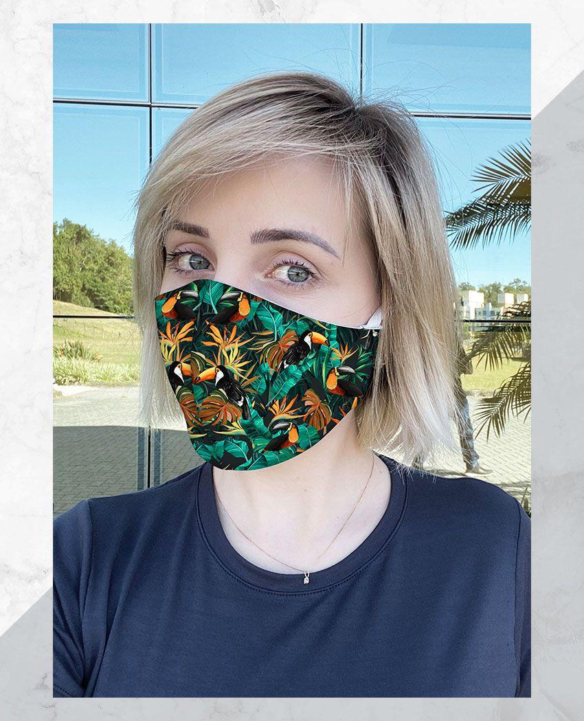 Máscara Anatômica Tucanos Folhagens