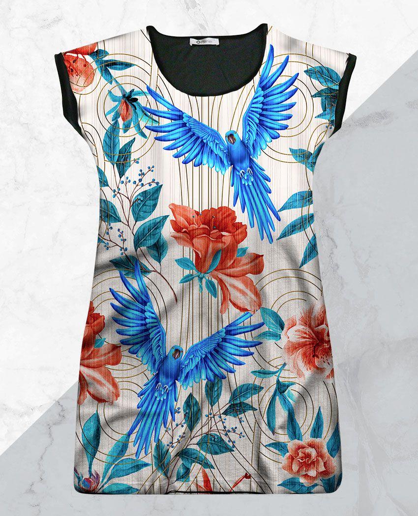 Vestido Arara Azul e Azáleas