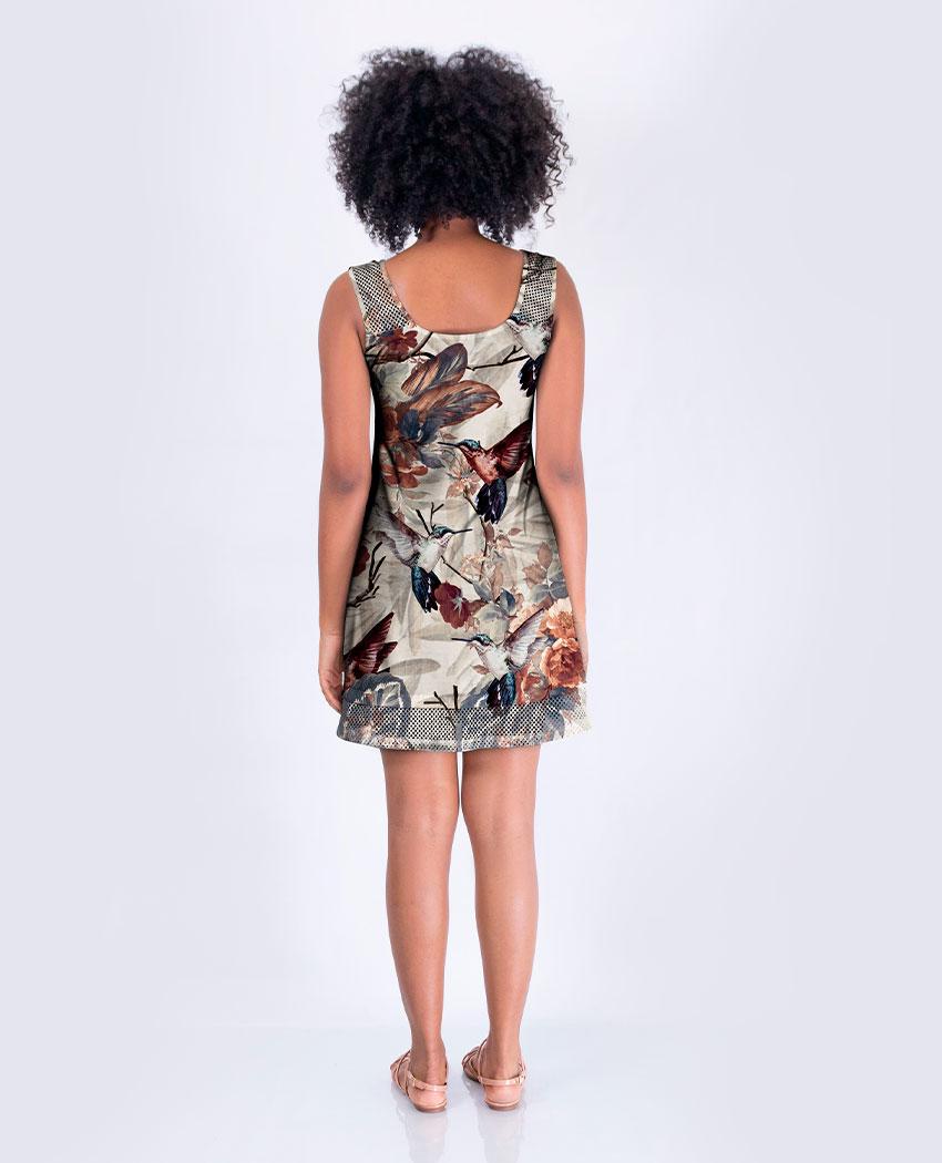 Vestido Barra Arrastão Beija-flor