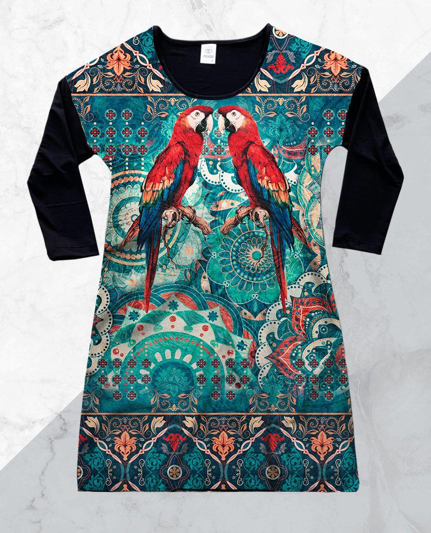 Vestido Cetim 3/4 Araras Mandalas