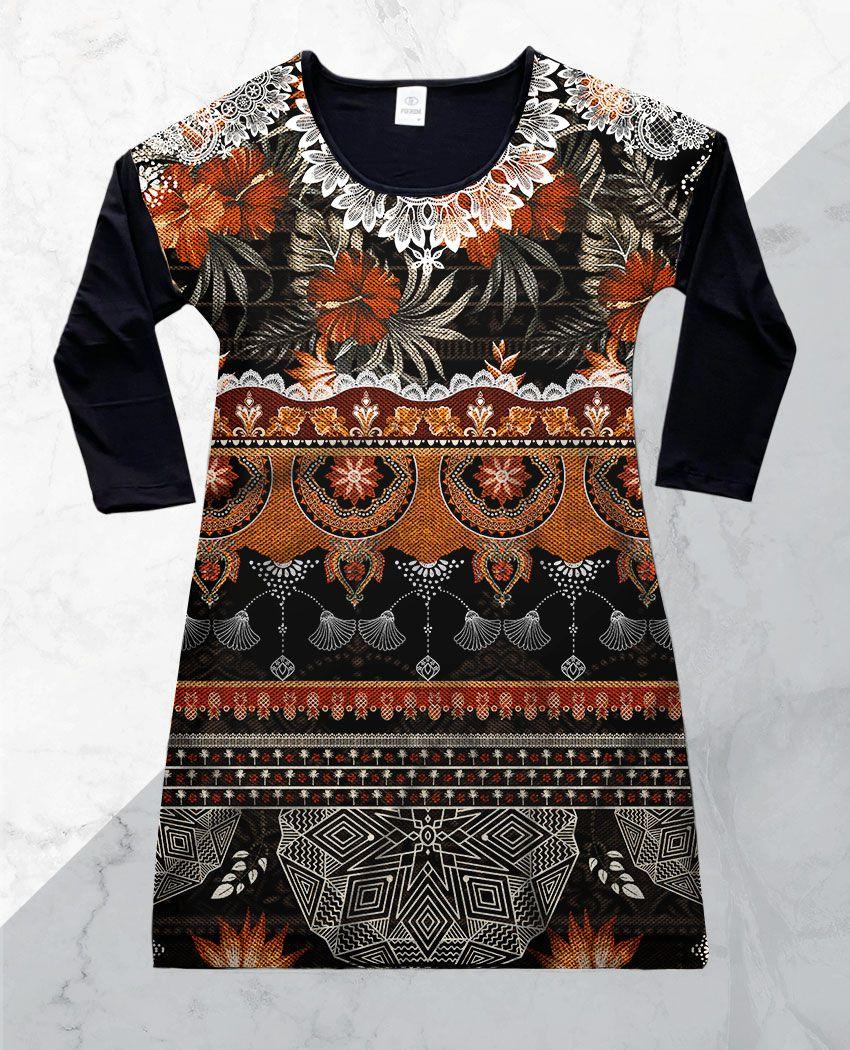 Vestido Cetim 3/4 Dark Tribal