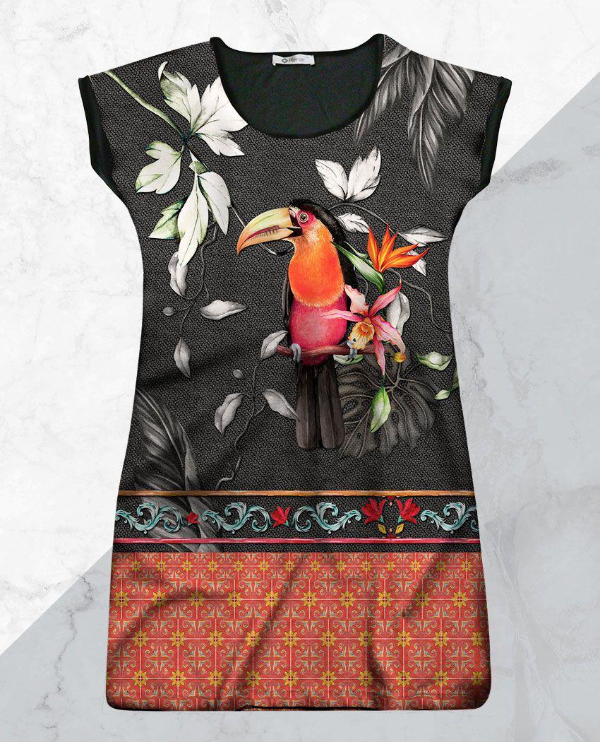 Vestido Cetim Tucano Barrado