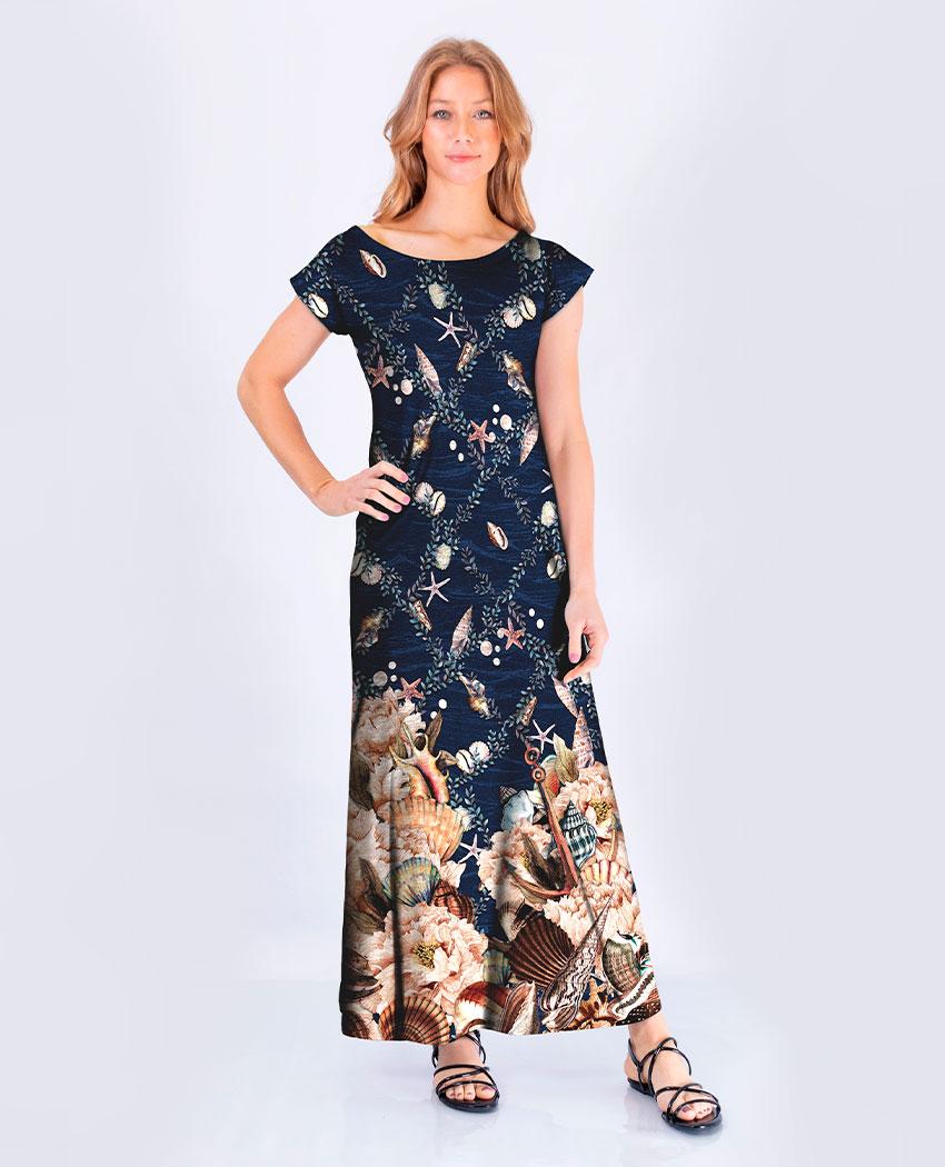 Vestido Conchas Manga Inteira