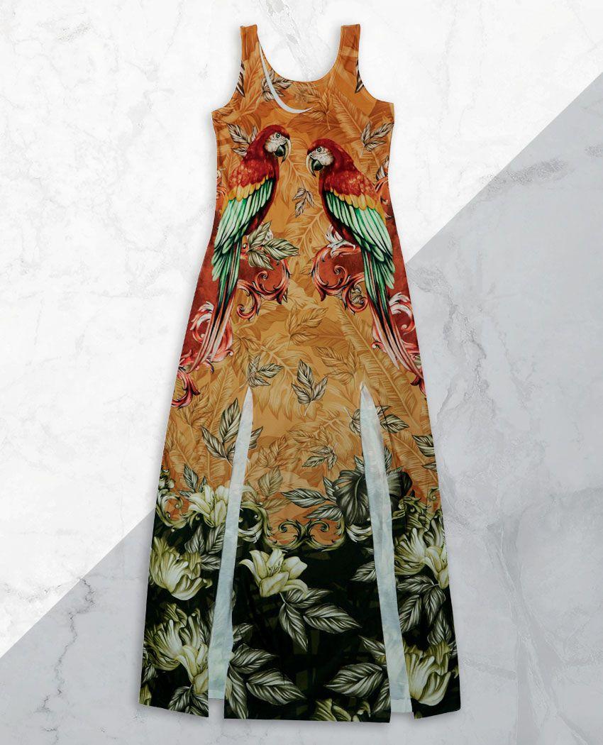 Vestido Fenda Araras Majestosas