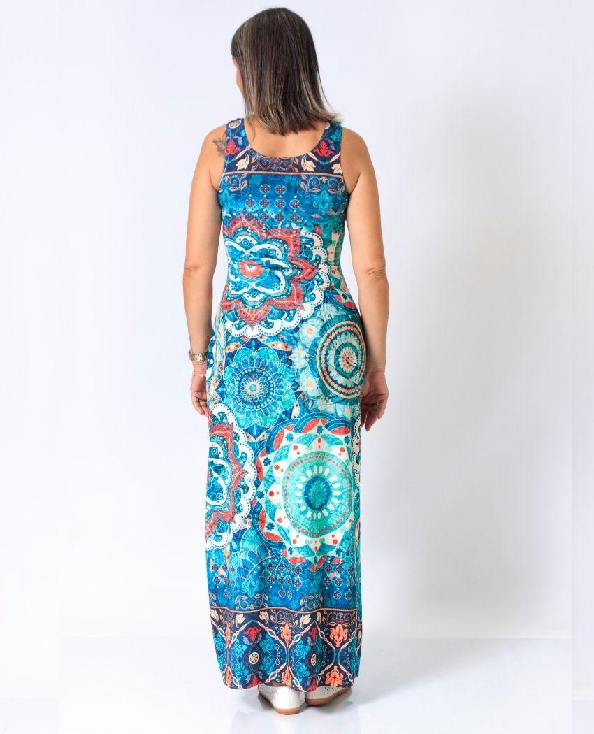 Vestido Fenda Arara Mandalas