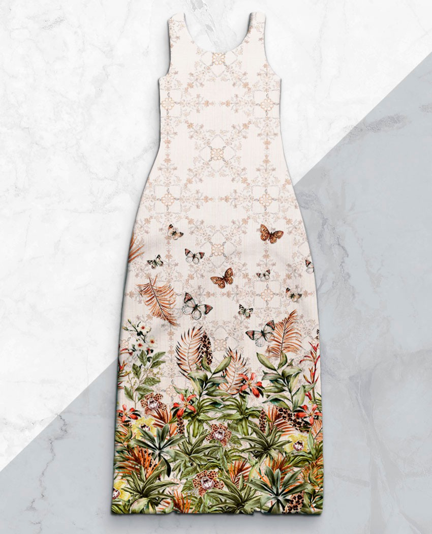 Vestido Fenda Borboletas Oncinha