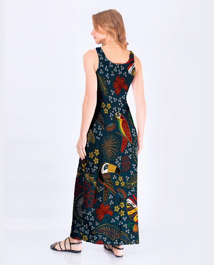 Vestido Fenda Fauna Bordada