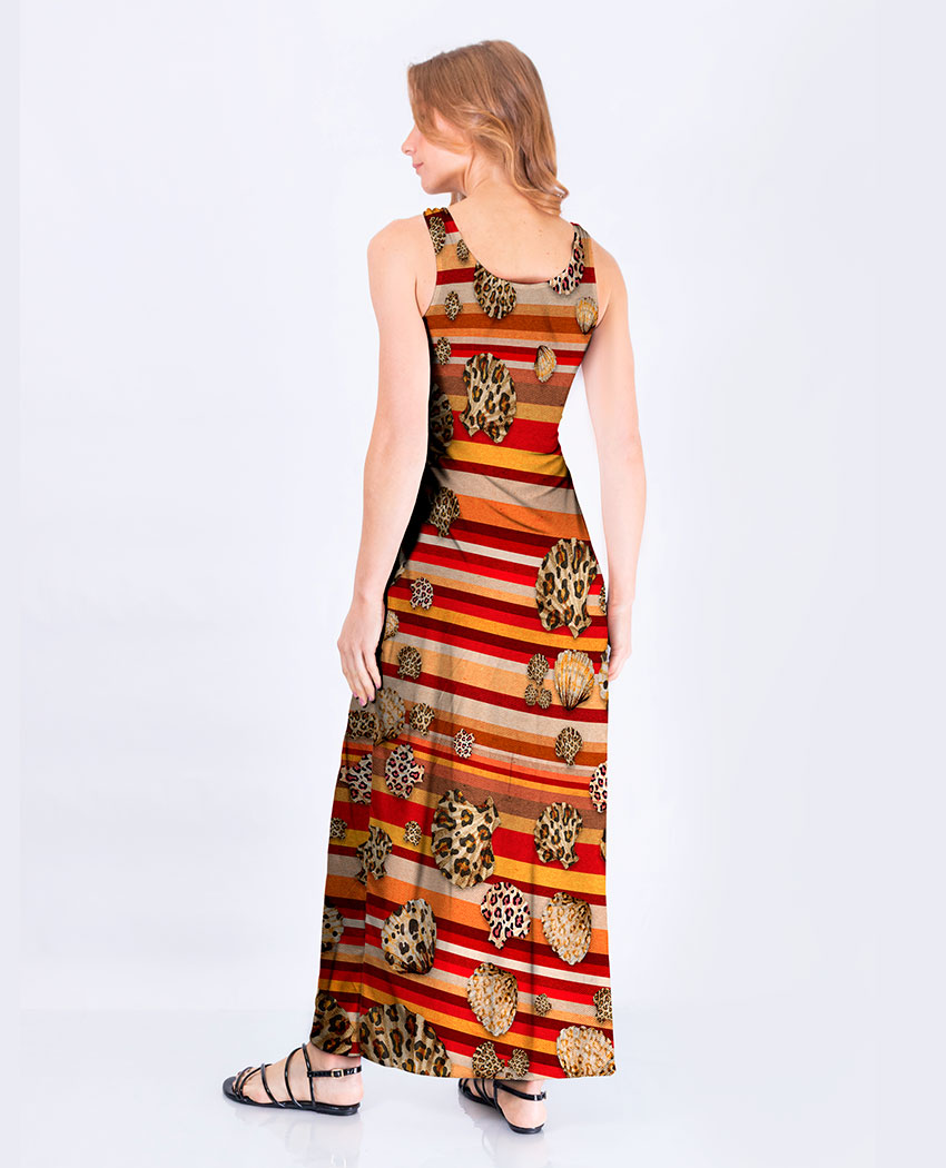 Vestido Fenda Listras e Conchas