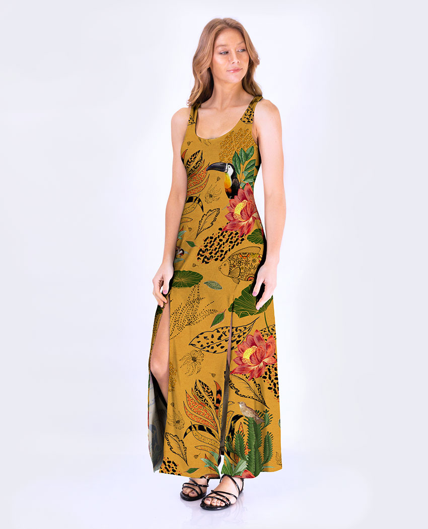 Vestido Fenda Flor de Lotus
