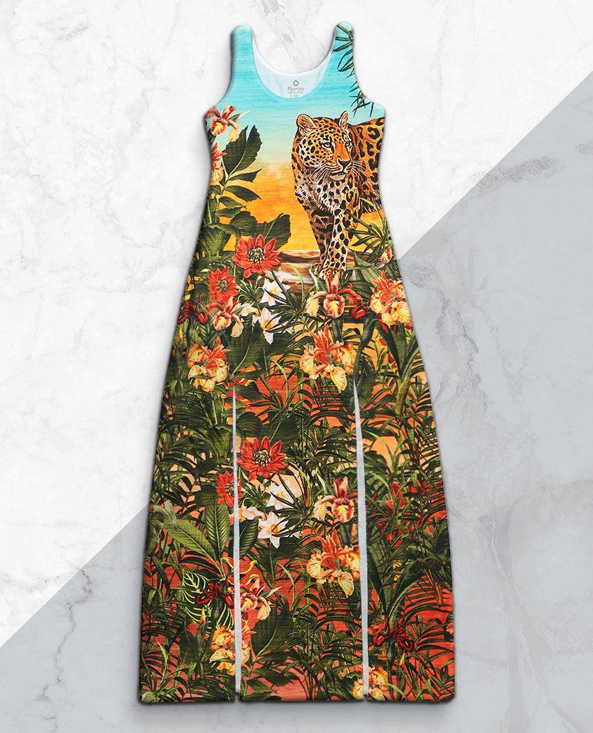 Vestido Fenda Onça Flores