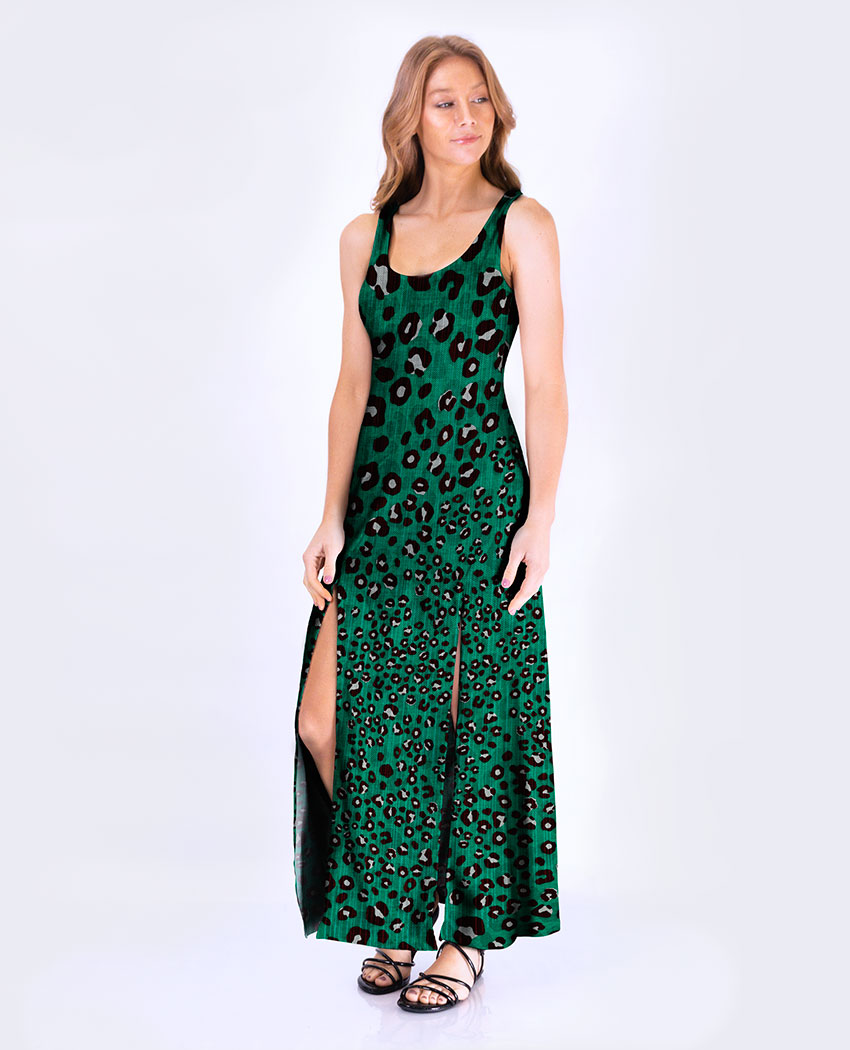 Vestido Fenda Oncinha Verde