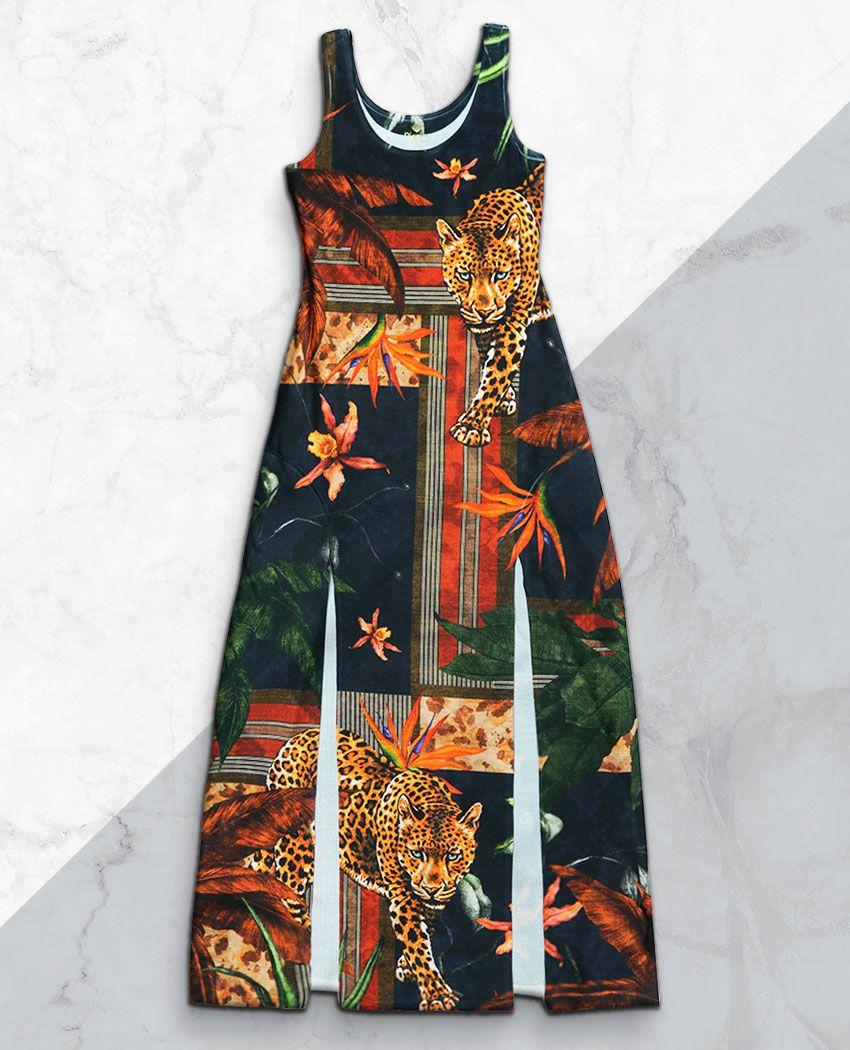Vestido Fenda Onça Geométrica