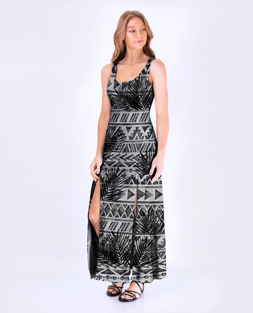 Vestido Fenda Tribal Coqueiros