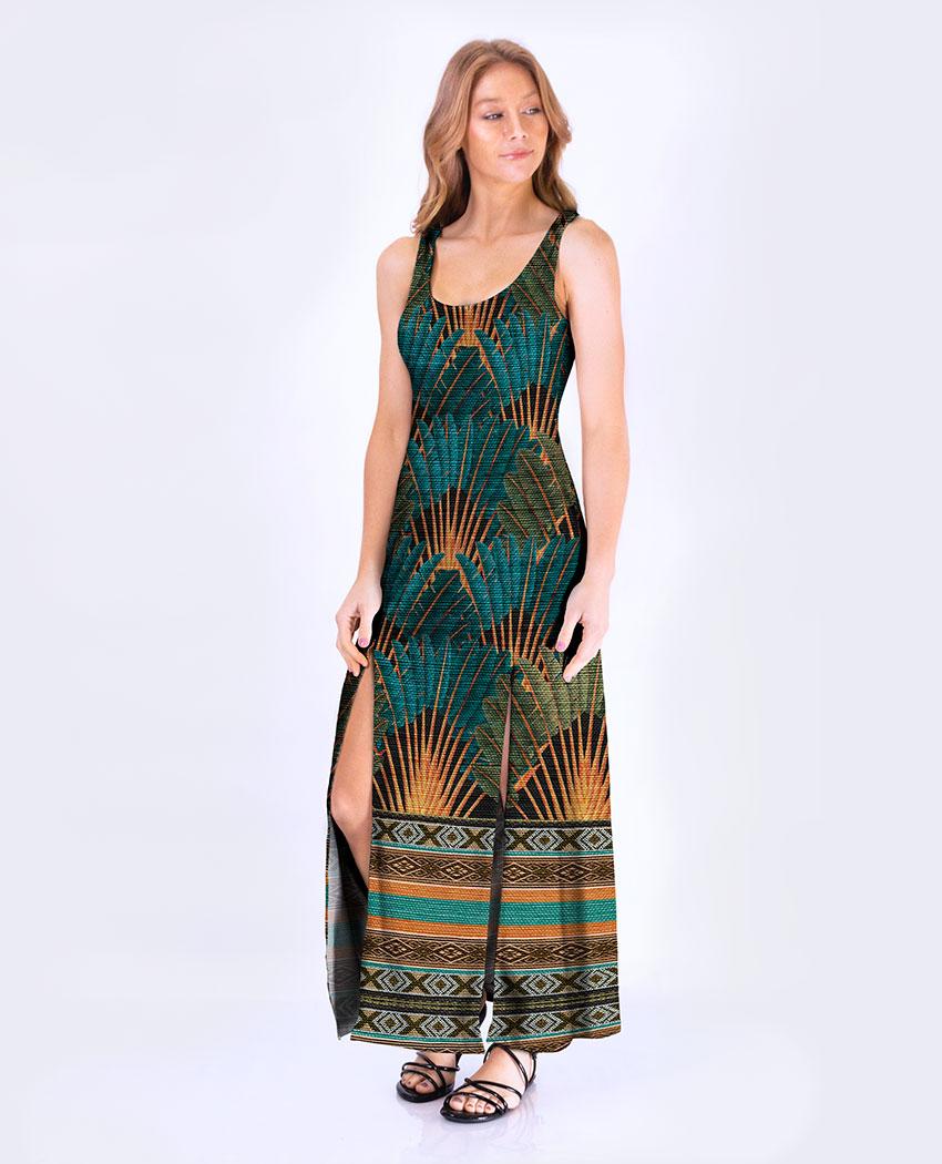 Vestido Fenda Tribal Penas