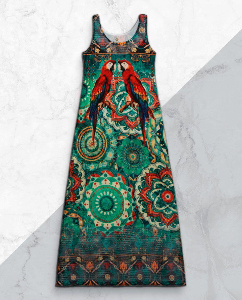 Vestido Longo Araras Mandala Det Arrastão