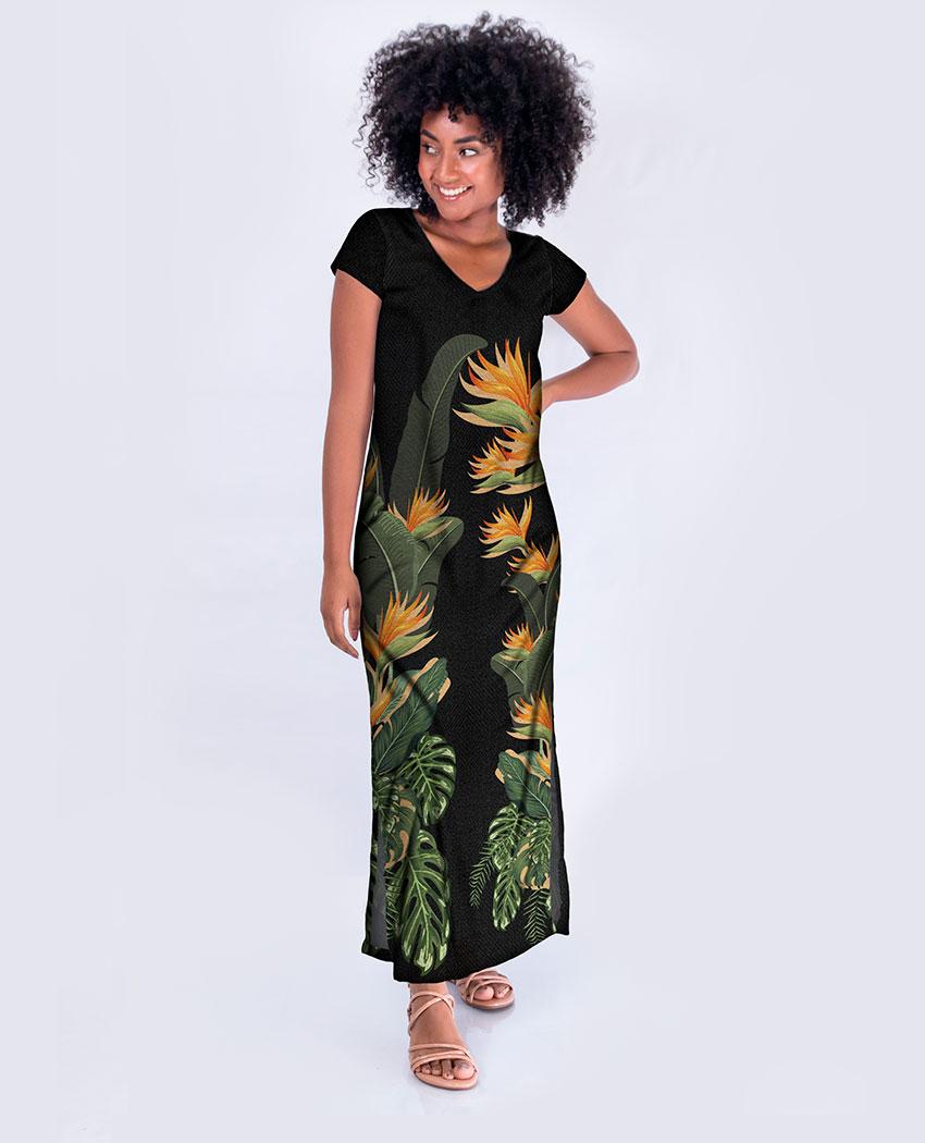 Vestido Longo Dec V Estrelícias e Folhas