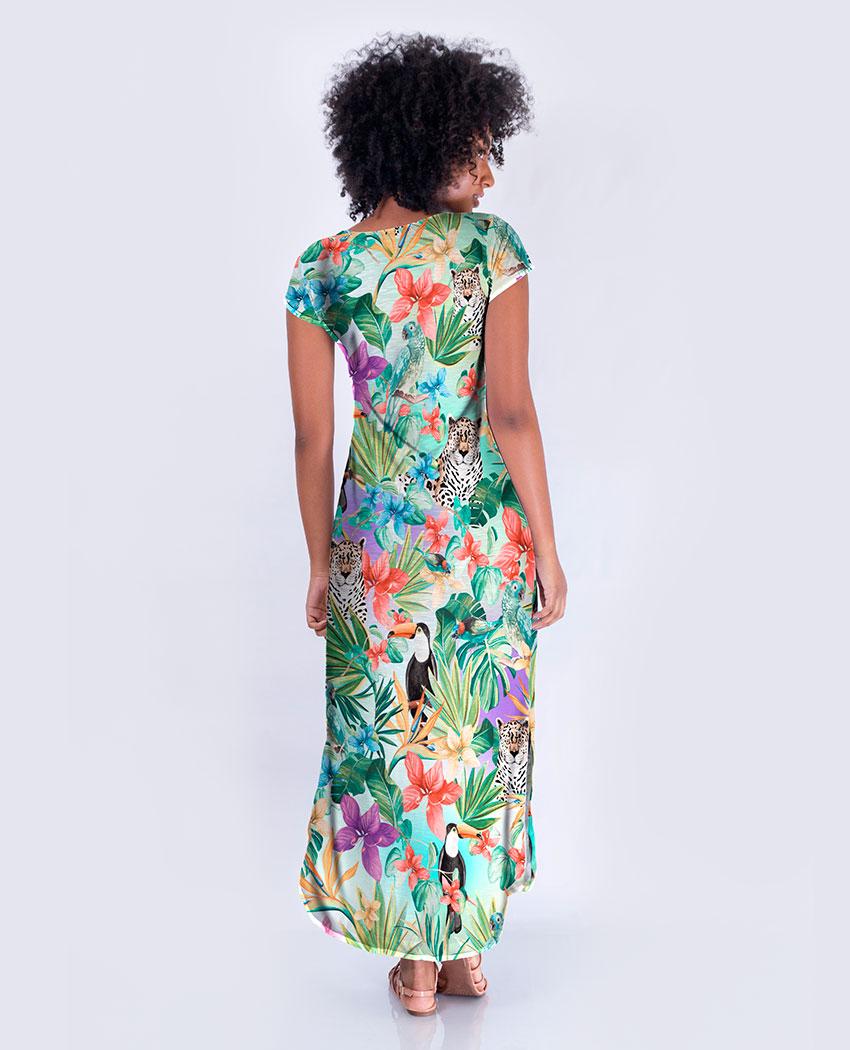 Vestido Longo Dec V Fauna & Flora Color