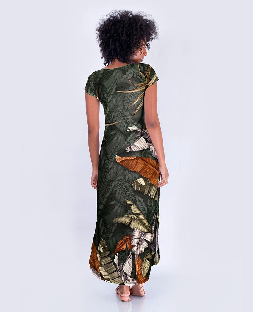 Vestido Longo Dec V Folhas e Onças