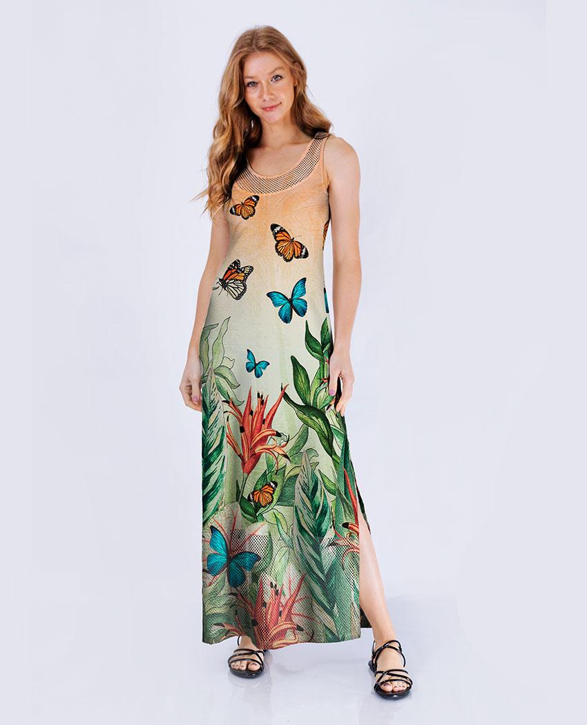 Vestido Longo Flora Fresh Det Arrastão