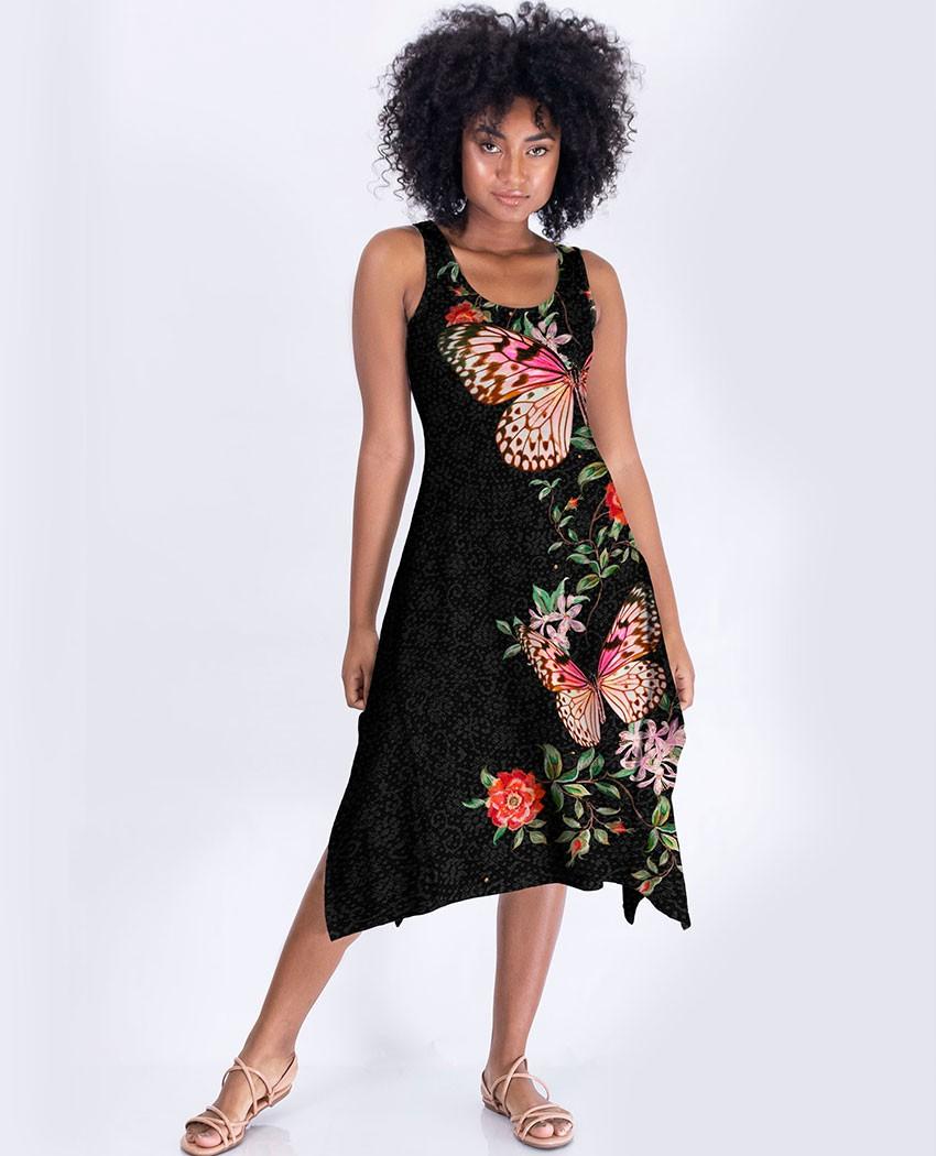 Vestido Midi Borbo e Rosas