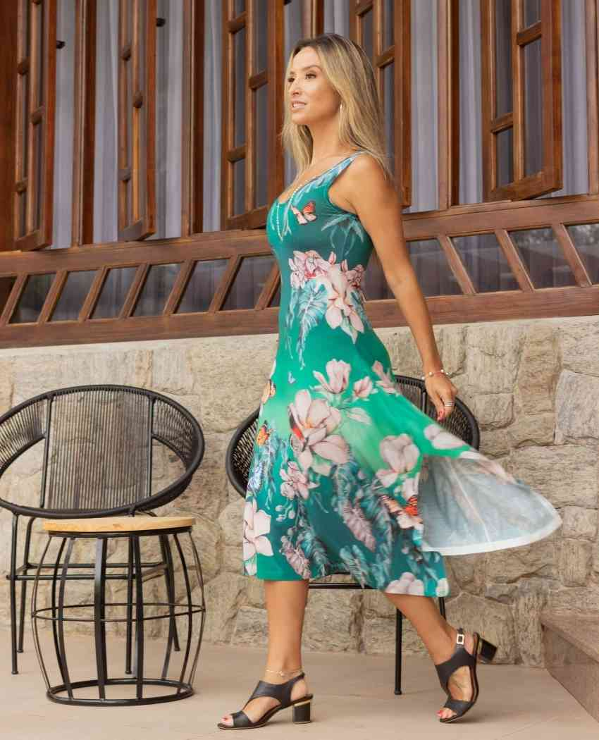 Vestido Midi Borboleta Celeste