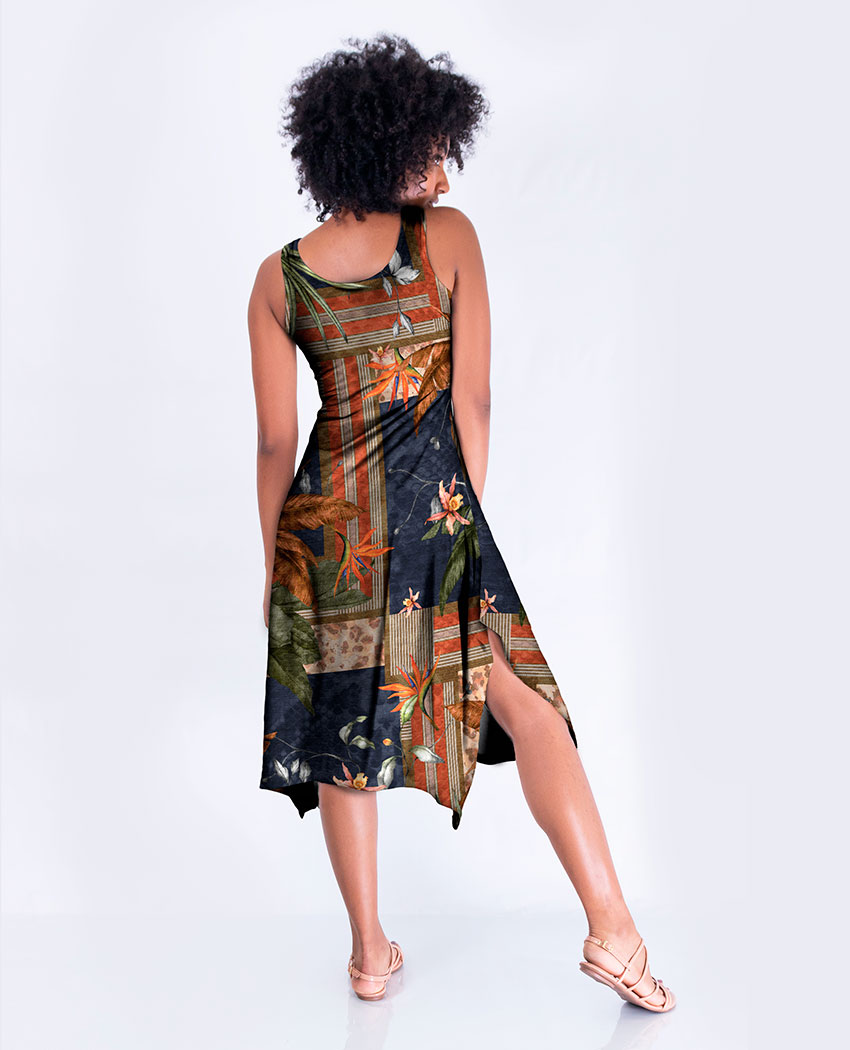 Vestido Midi Onça Geométrica