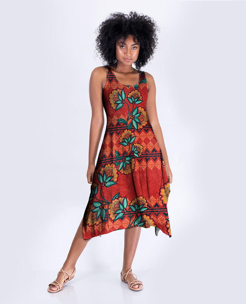Vestido Midi Tribal e Flores