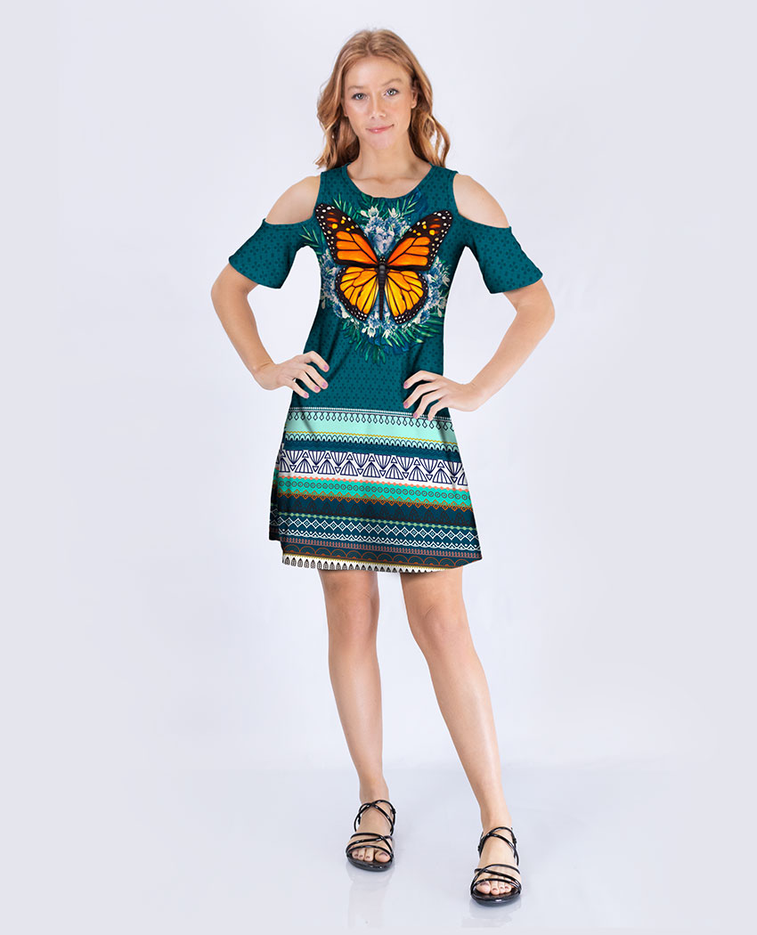 Vestido Ombro Borboleta Barra Tribal