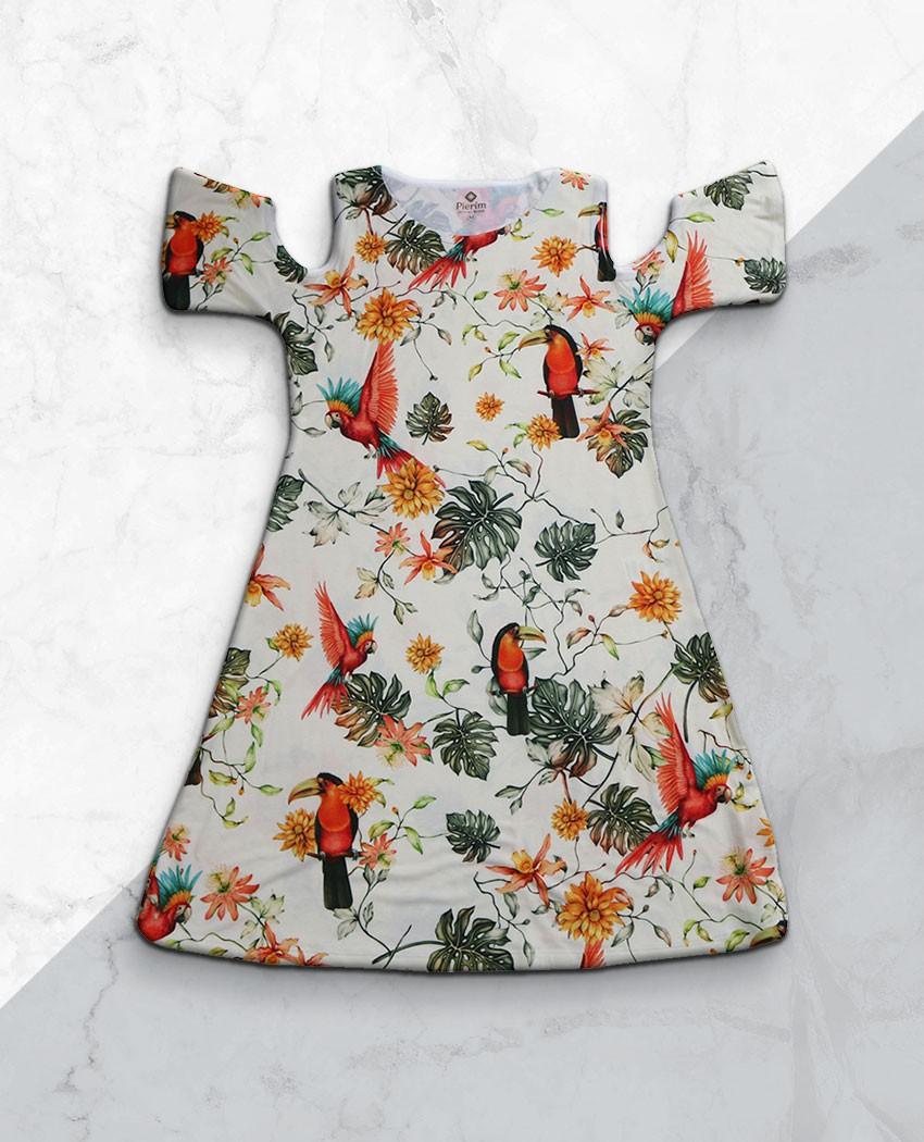 Vestido Ombro Vazado Multi Pássaros