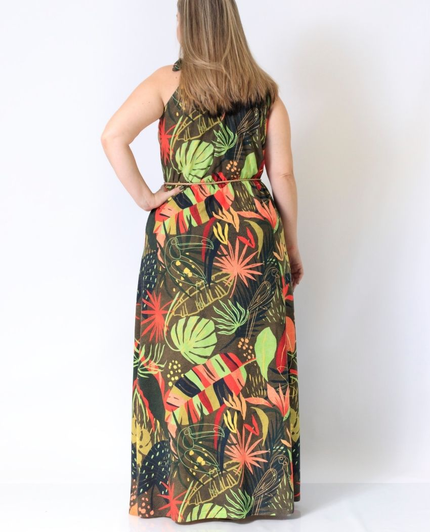 Vestido Trapézio Longo Selva Moderna
