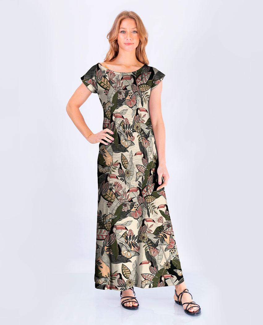 Vestido Tucanos Xilogravura