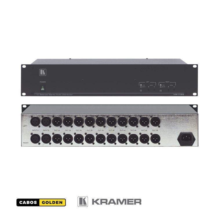 Amplificador de distribuição de áudio estéreo balanceado