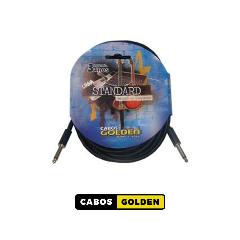 CABO INSTRUM. MUSICAL LINHA TÊXTIL STANDARD P10 X P10 METAL / Dupla blindagem c/ Carbono 0,40mm