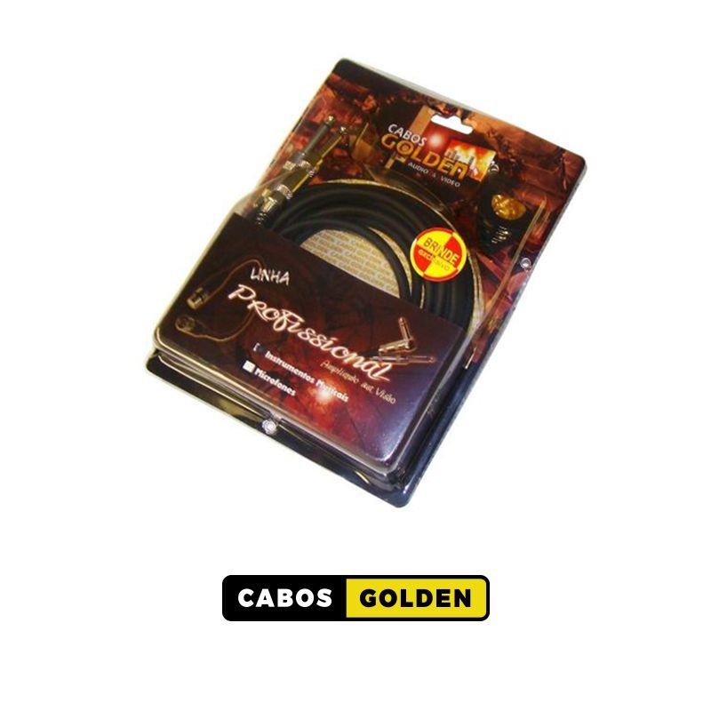 CABO INSTRUMENTO MUSICAL LINHA PROFISSIONAL P10 X P10 METAL / Dupla blindagem c/ Carbono 0,40mm