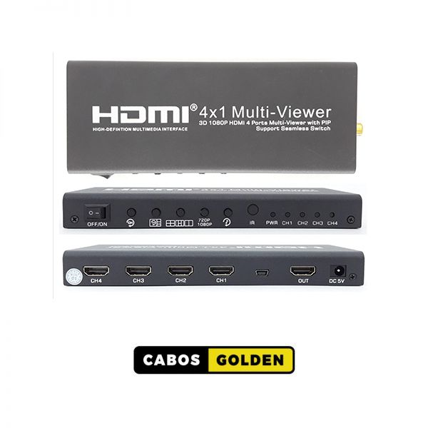 CONTROLADOR DE VIDEO WALL, PAINEL DE LED E SCALER MULTIVIEWER HDMI 4X1 SWITCH