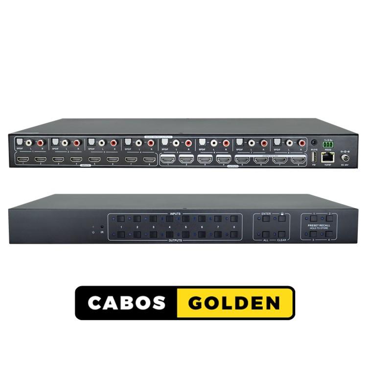 Matrix HDMI2.0 8x8 4K60, TCP/IP e RS232 com função Scaler